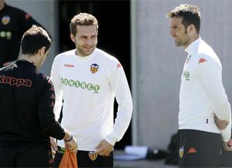 Marchena, junto a Baraja durante un entrenamiento del Valencia