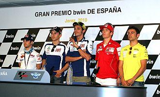 Pedrosa, Lorenzo, Rossi, Hayden y Barber� posan para los medios en Jerez