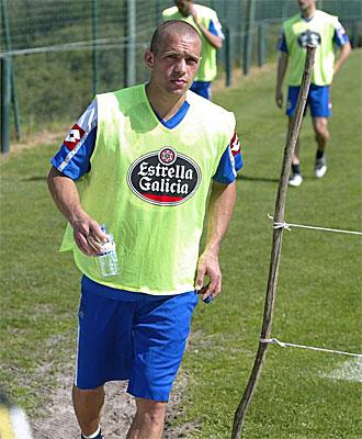 Juca, en un entrenamiento del Deportivo.