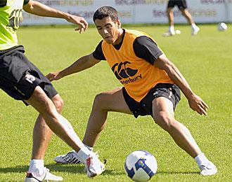 Rochela durante un entrenamiento con el primer equipo del Deportivo.