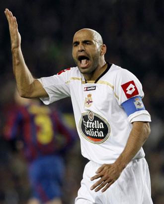 Manuel Pablo en el partido de liga contra el Barcelona