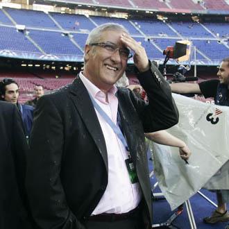 Gregorio Manzano acudi� al Camp Nou a presenciar el Bar�a-Inter