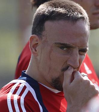 Ribery durante un entrenamiento con el Bayern