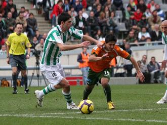 Juanjo, delantero del C�rdoba, en el partido disputado contra el Betis