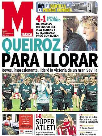 La portada del diario MARCA del d�a despu�s de que Carlos Queiroz 'se�alara' a Rub�n