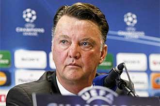 Louis van Gaal, durante la rueda de prensa que dio en la v�spera del Olympique de Lyon-Bayern de M�nich