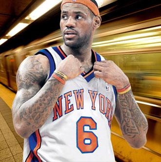 LeBron, con la camiseta de los Knicks en uno de los montajes que publica el Daily Mail.