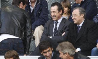 Casillas saluda a Florentino y Valdano, con Pellegrini y Ra�l abajo