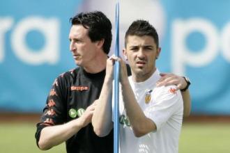 Emery y David Villa durante un entrenamiento.