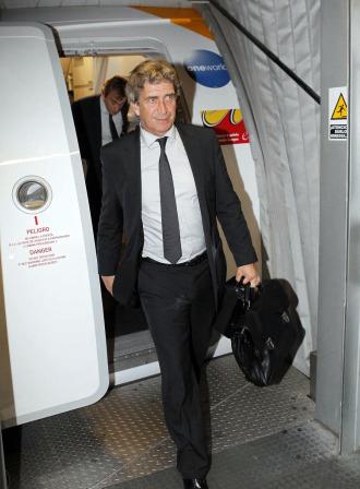 Pellegrini, a su llegada ayer al aerupuerto de Madrid