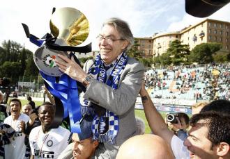 El presidente del Inter celebra el 'Scudetto' en Siena