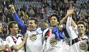 Los jugadores del Getafe celebran su clasificaci�n para la Europa League