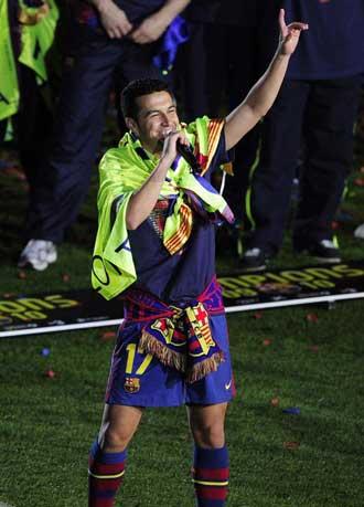 Pedro en la celebraci�n del Barcelona