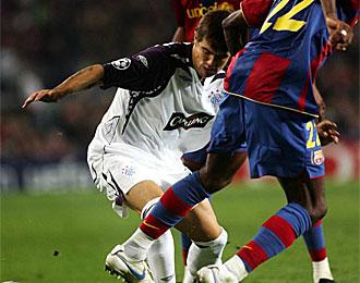 Nacho Novo, en el partido que le enfrent� al Barcelona en la Liga de Campeones