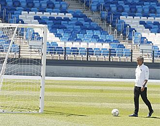Jose Mourinho, en el entrenamiento en Valdebebas previo a la final de la Champions