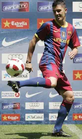 Villa en su presentaci�n como jugador del Bar�a
