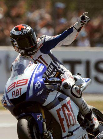 Jorge Lorenzo celebra su victoria en Le Mans