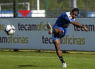Angulo durante un entrenamiento con el Deportivo.