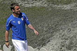 De Rossi en un entrenamiento de Italia.