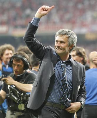 Mourinho, celebrando la Champions en el Bernab�u.