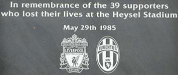 Placa conmemorativa en Heysel