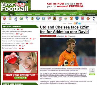 Informaci�n del 'Daily Mirror' sobre De Gea