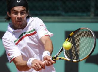 Pere Riba durante un partido en Roland Garros.