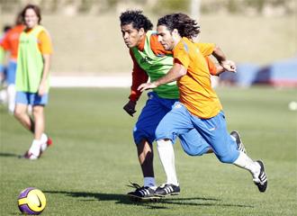 Ortiz y Acasiete, durante un entrenamiento del Almer�a