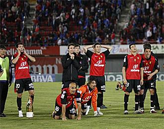 Los jugadores del Mallorca, en el �ltimo partido de la temporada