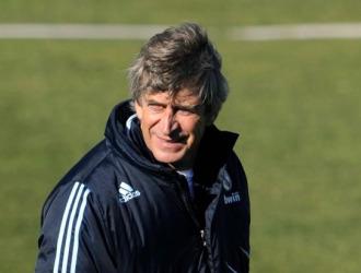 Pellegrini, en un entrenamiento del Real Madrid.