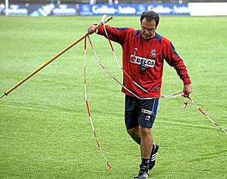 Mart�n Lasarte, durante un entrenamiento de la Real Sociedad