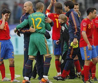 Los jugadores de la selecci�n celebran el triunfo del pasado jueves ante Corea del Sur.