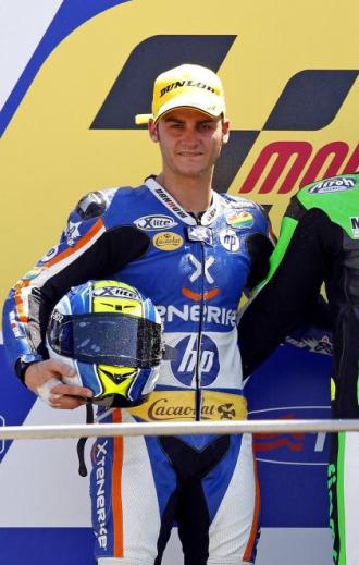 Gadea, en el podio de Moto2 en Mugello