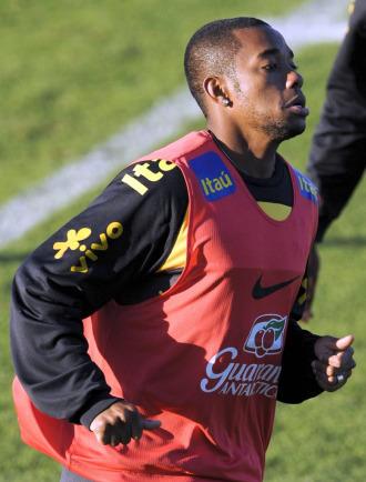 Robinho, en un entrenamiento con la selecci�n de Brasil