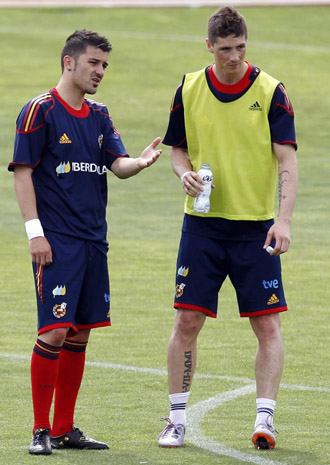 Villa y Torres, en un entrenamiento de La Roja.