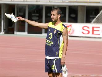 David Gonz�lez, durante un entrenamiento de Las Palmas