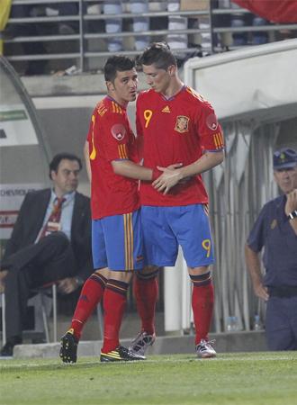 Momento en el que Fernando Torres entra por Villa. Es el momento de su regreso tras la lesi�n.