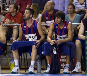 Navarro y Ricky, durante el primer partido de la serie