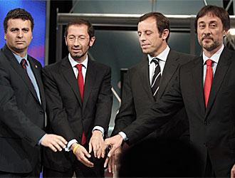 Los cuatro candidatos se fotografiaron antes del debate.