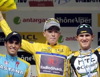 De izquierda a derecha, Alberto Contador, Janez Brajkovic y Tejay Van Garderen.