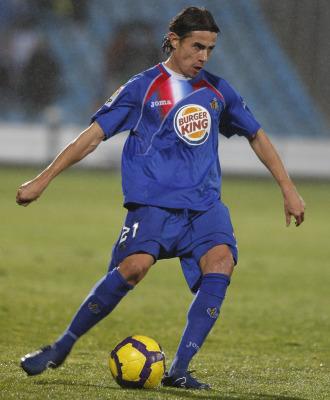 David Cort�s, en uno de los partidos disputados con la camiseta del Getafe