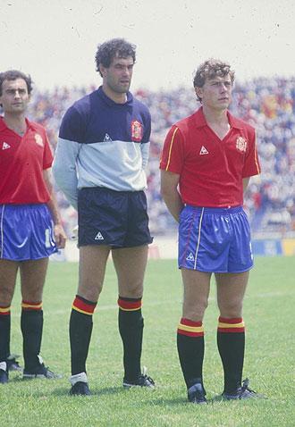 Butrague�o, Zubizarreta y Gallego, en el Mundial de M�xico 1986.