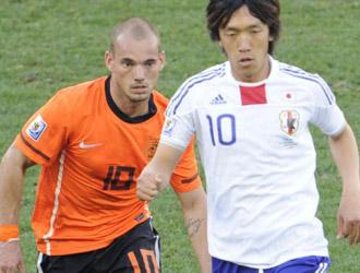 Sneijder en el encuentro Holanda-Jap�n