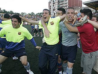Desbordante alegría en el filial azulgrana tras el ascenso a Segunda