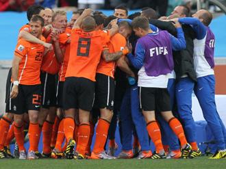Los jugadores de Holanda celebran el tanto de Sneijder ante Japón.