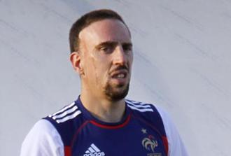 Ribery en el último entrenamiento de Francia