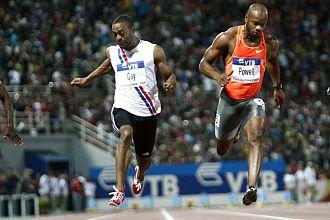 Tyson Gay y Asafa Powell en una carrera de 2009