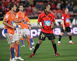 Nsue, en un partido con la camiseta del Mallorca