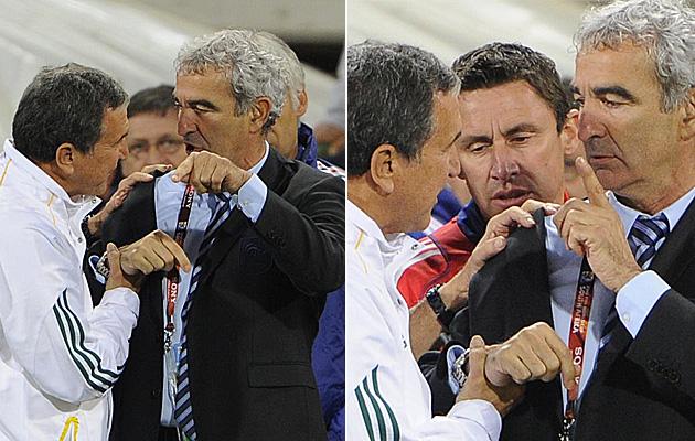 Parreira se acerca a Domenech al final de partido, pero �ste se niega a darle la mano. /AFP