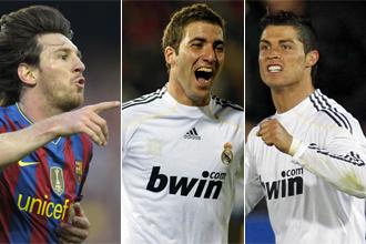 Messi, Higua�n y Cristiano.
